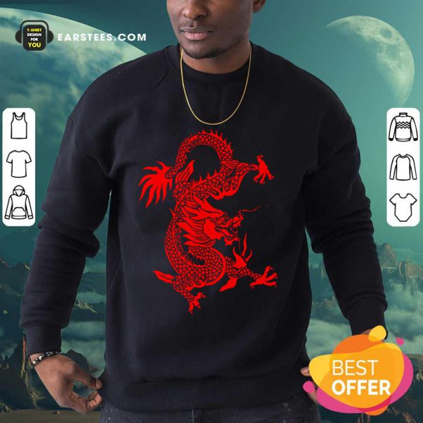 Red Tribal Dragon Chinese Firedrake Art Print Sweatshirt