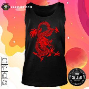 Red Tribal Dragon Chinese Firedrake Art Print Tank Top