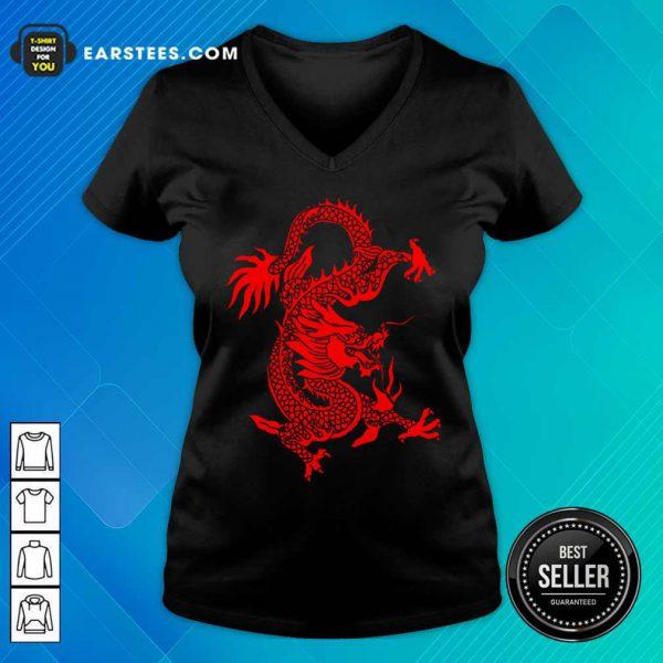 Red Tribal Dragon Chinese Firedrake Art Print V-neck