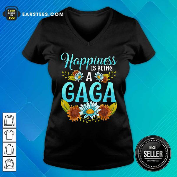 Top Flower Happiness Is Being A Gaga V-neck